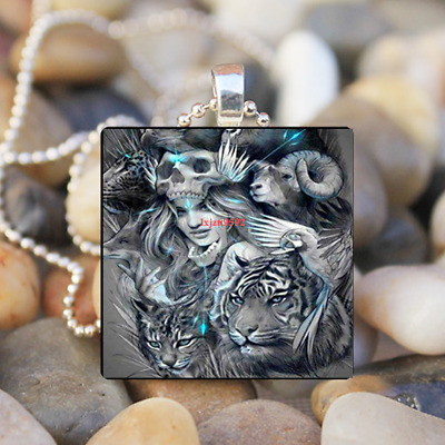 45ccb3a65 Skull Woman Art Cabochon Glass Silver Tile Chain Pendant Necklace Jewelry