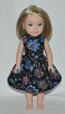Black Purple Floral Doll Dress Clothes Fits American Girl Wellie Wisher Dolls
