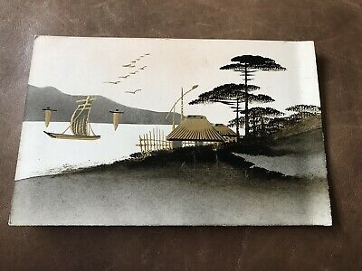 Antique Japanese Gold And Black Inked Laquered Postcard Unsent Early 1900s rare