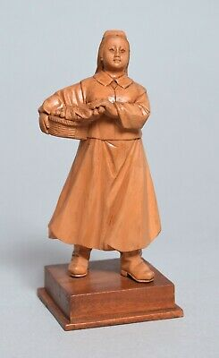 A Superb Chinese Republic Carved Boxwood Wood Wooden Figure Of A Lady