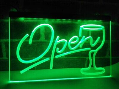 Open cocktail wine gin bar closed LED Neon Bar Sign Home Light Up Drink Pub