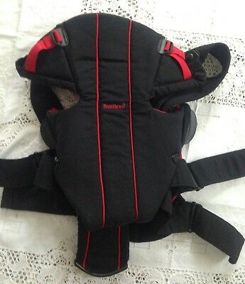 2045b955b2c BABY BJORN Infant Carrier LUMBAR SUPPORT BLACK RED 8-26 LBS Adjustable CLEAN