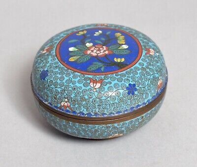 Good Looking Antique Chinese Cloisonne Circular Lidded Box Bowl