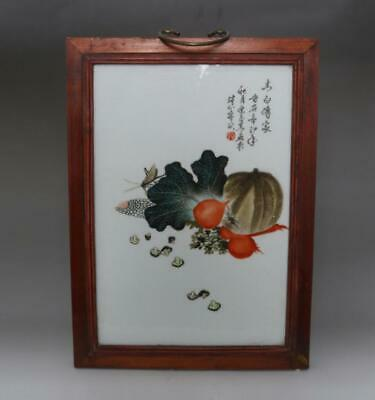 Old Chinese Famille Rose Plate Scroll Zhushankeci Marked 40Cm (607)