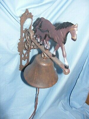Cast Iron Horse and Foal Bell Heavy Garden Man Shed Equestrian