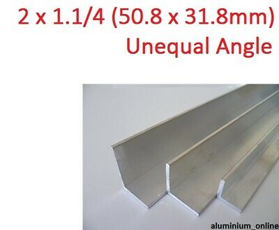 ALUMINIUM UNEQUAL ANGLE 2 x 1.1/4, 1 thickness, lengths 100mm to 2.500mm