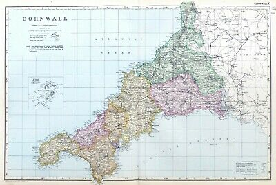 DUCHY OF CORNWALL, 1912  - Original Large Antique County Map, Bacon.