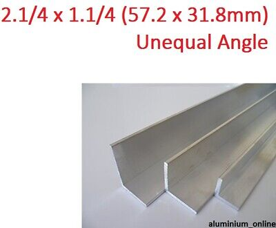 ALUMINIUM UNEQUAL ANGLE 2.1/4 x 1.1/4, 1 thickness, lengths 100mm to 2.500mm