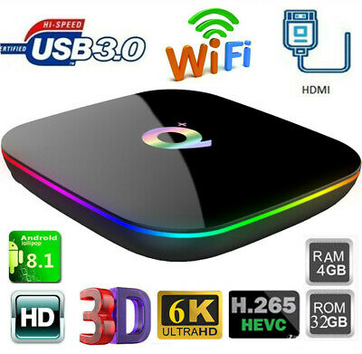 Smart Q Plus H6 TV Box 4G+32G WiFi 3D 6K HD Quad Core Android 8.1 Media Player