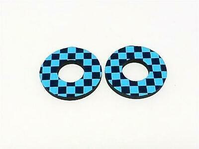 Silver Checker BMX MX Grip Donuts  by Flite Navy Blue Electric blue
