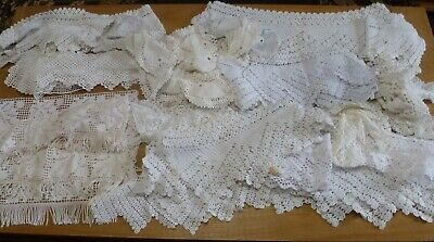 """Vintage Huge Lot 29 Pieces Of Hand Worked Cotton Lace 8"""" - 100""""+ Long"""