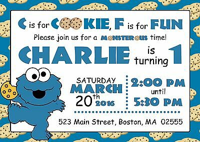 BABY COOKIE MONSTER Birthday Baby Shower Invitation Personalized 1st