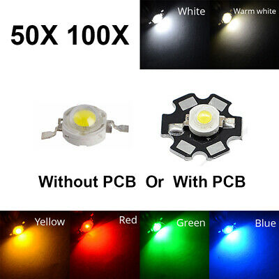50 100pcs Light Beads 3W SMD High Power LED COB Chip Cool/Warm White