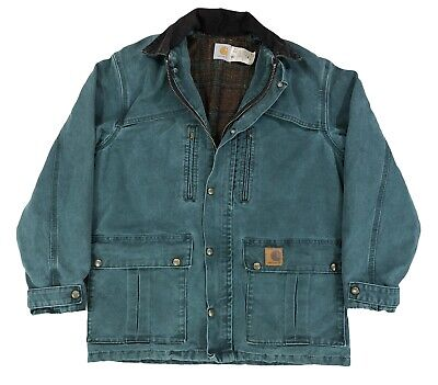 c9e4d5f393 Vintage Carhartt Blanet Lined Jacket Green Mens Small Made In USA 90s Work  Wear