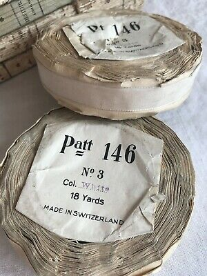 Antique Ribbon Tape Vintage Millinery Ribbon Oyster White 18yd /Hats Fascinators