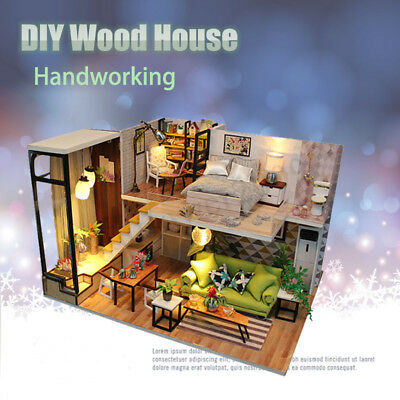 DIY Dollhouse Miniature Kit Wood Cover Creative Toy Doll House Cottage For Kids