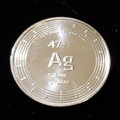 Ag (Silver) element Silver Round 1oz .999 Fine Silver Elemetal: Minted in USA