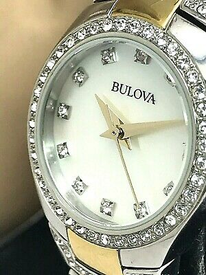 Bulova 98L198 Women's Two Tone Stainless Steel White MOP Dial Crystal Watch