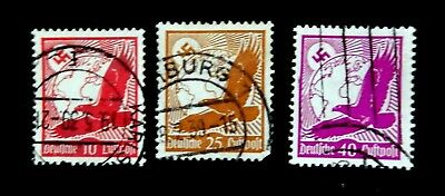 GERMANY  REICH - 1934 Air Mail   Set of 3 stamps  /  Used