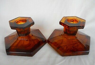 Collectors Davidson Cloud  Glass Amber Candle Holders Candlesticks 1930's Design