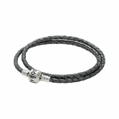 d36f0e10c AUTHENTIC PANDORA SILVER GREY Double Leather Bracelet SMALL  (590705CSG-D1)13.8in