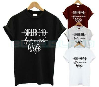 Girlfriend Fiance Wife T Shirt Wifey Hubby Wedding Ring Husband Couple Fashion
