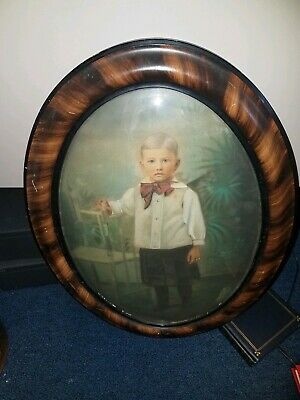 Antique 19th Century Original Portrait of Young Boy Round Drawing
