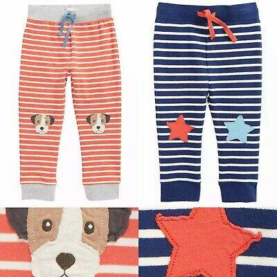 NEW Ex Baby Boden Fun Applique Striped Joggers - 0 to 4 Years - RRP £18/£20