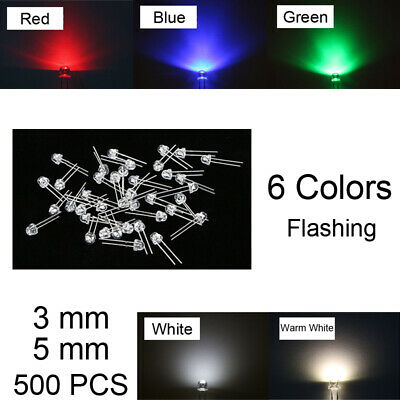 500Pcs LED Emitting Diodes F3 F5 3mm 5mm Round Warm Green Red 6 Color Wide Angle