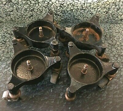 Antique Cast Iron Piano Casters Furniture Dolly Stove Swivel Wheels 4018 Vintage