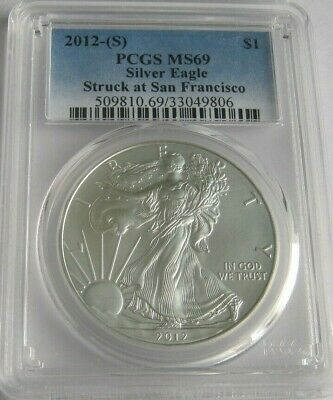 2012-(S) PCGS MS69 AMERICAN SILVER EAGLE ~Struck at San Francisco~