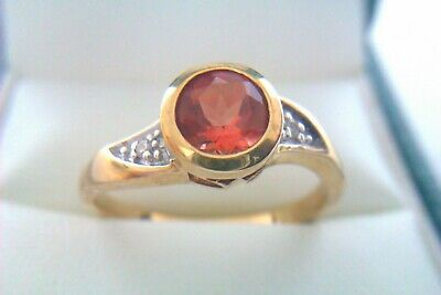 Beautiful Vintage 9ct Gold Fire Opal & Diamond Ladies Ring 2007