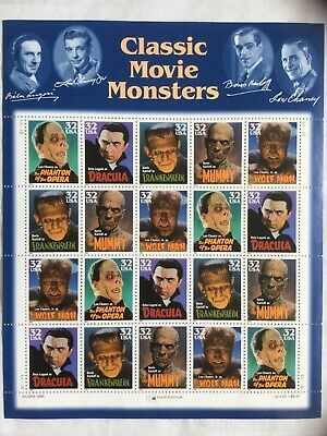 Classic Movie Monsters 1997 USPS Stamp Sheet - (20) 32 Cent Stamps w/Gum Backing