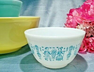 ~Nos ~ New 401 Pyrex Butterprint Turquiose Blue Nesting Mixing Bowl Vintage