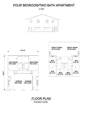Four bedroom two bath duplex Apartment 1740 sq ft per unit plan with garage