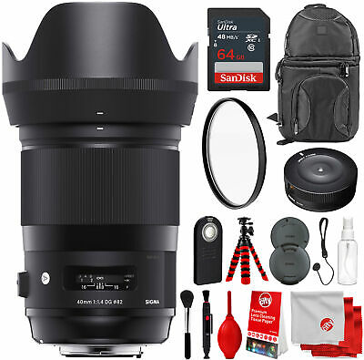 Sigma 40mm f/1.4 DG HSM Art Lens for Canon EF with Bundle