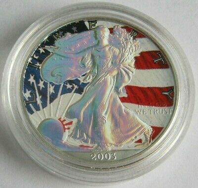 2003 Hologram & Colorized AMERICAN SILVER EAGLE ~1 Oz .999 Fine Silver Coin~