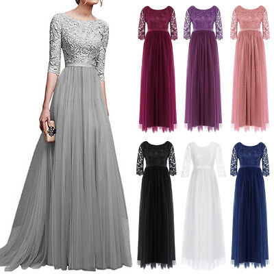 Tulle Lace Gown Dress for Women Formal Wedding Evening Party Bridesmaid Cocktail