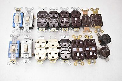 Assortment of Receptacles & Switches, Leviton, Hubbell, Pauluhn, Lot of 17