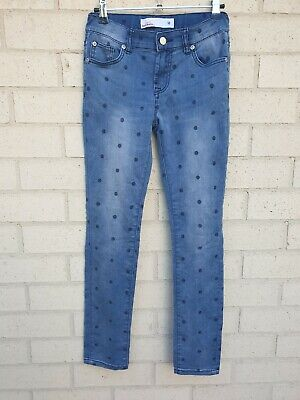 Just Jeans Denim Jeans Girls Size 12 Blue Spots Dots Stretch Skinny Distressed