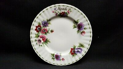Royal Albert England Bone China Flower of the Month March Anemones Salad Plate