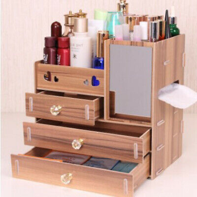 Wooden Makeup Case Cosmetic Organiser Storage Boxes Mirror Cabinet Drawer Boxes