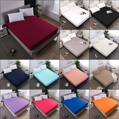 Machine Washable Waterproof Mattress Cover Protector Bed Pad Cover Fitted Sheet