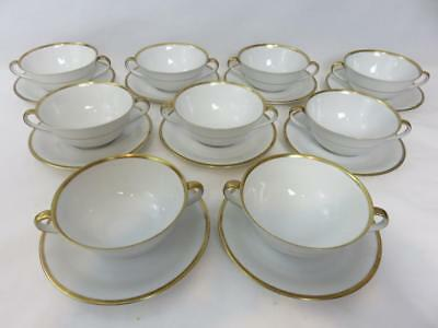 Set 9 CLASSIC White w/Gold HANDLED SOUP CUPS & SAUCERS Selb Tirschenreuth BOWLS