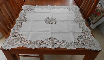 Vintage White Linen With Embroidered Lace Edge Tablecloth 94cm Square
