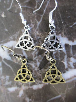 -Lot of 2-Wicca Bronze & Silver Irish Celtic Triquerta Knot Artisan Earrings