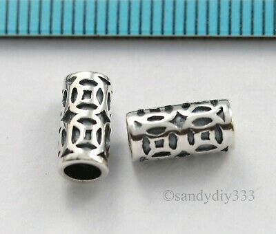 2x BALI OXIDIZED STERLING SILVER WEALTH TUBE CORD SPACER BEADS 10mm 4.7mm #3071