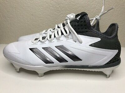 799cfb5624a Adidas Adizero Afterburner 4 Men s Metal Baseball Cleats White Silver  B39156 8.5