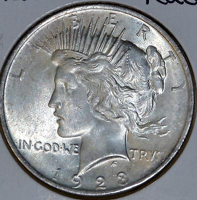 *1923-P AU/Almost Uncirculated PEACE SILVER DOLLAR $1 COIN