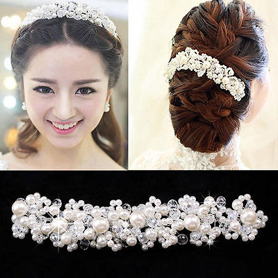 Bridal wedding Formal Ivory Head Piece Hair Accessories Tiara Pearl Womens Bride